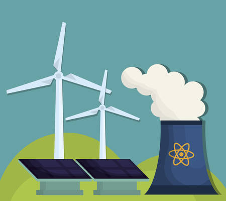 contamination: Nuclear plant, solar panels and eolic wind turbines over blue background.