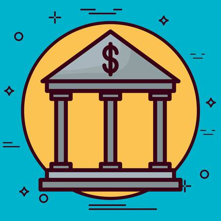 roman column: Bank building icon over yellow circle and blue background.