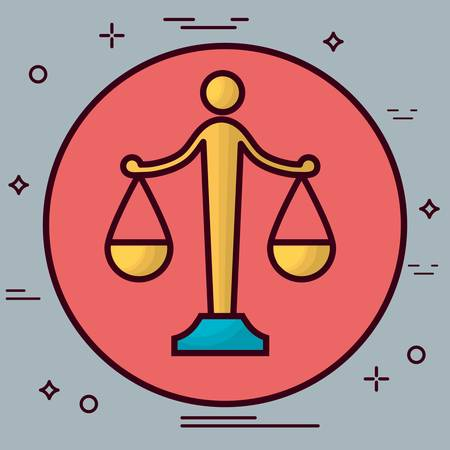 Law scale icon over gray background.
