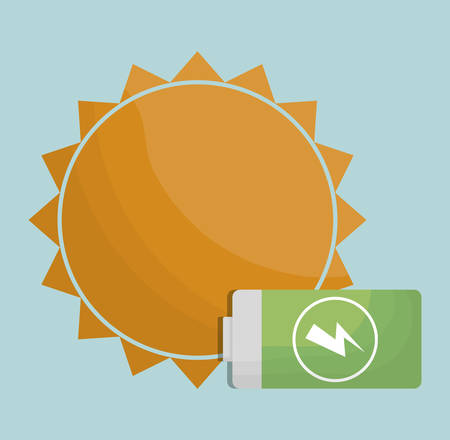 Sun and battery icon over blue background.