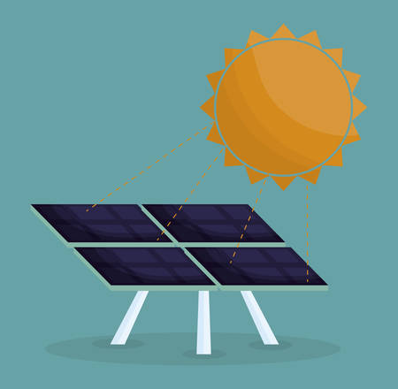 Sun and solar panel icon over blue background.