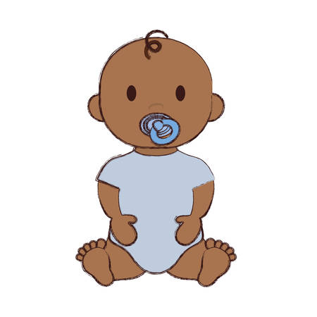 Cute baby boy with pacifier, cartoon icon over white background.