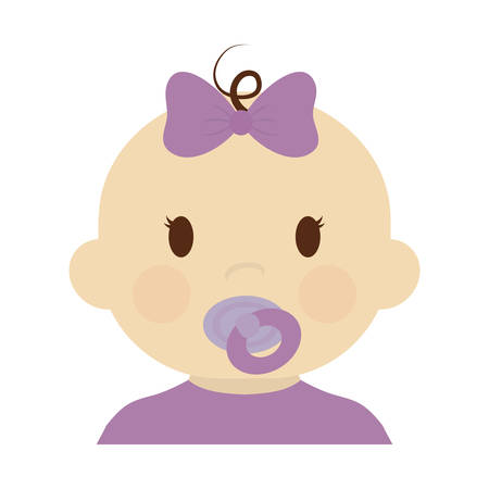 cute baby girl with purple bow, cartoon icon over white background. colorful design. vector illustration Illustration