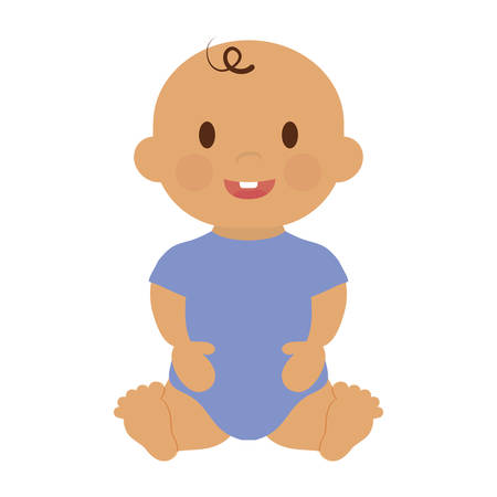 Cute happy baby boy, cartoon icon over white background. colorful design. vector illustration