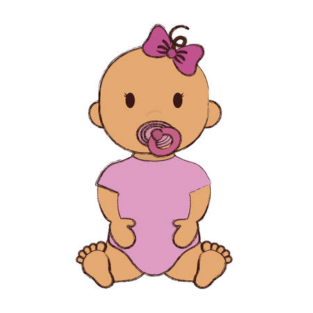 Cute baby girl with pacifier and pink bow, cartoon icon over white background. colorful design. vector illustration