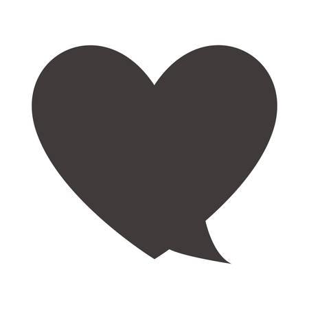 Speech bubble in hartvorm icoon over witte achtergrond. Vector illustratie