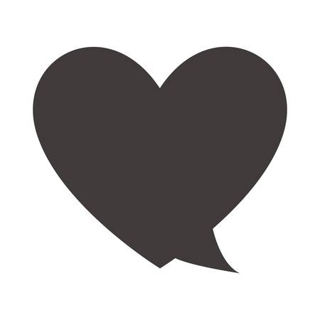 speech bubble in heart shape icon over white background. vector illustration