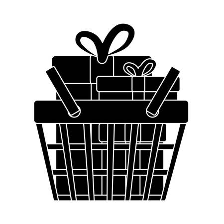 simple store: shopping basket with gift boxes icon over white background. vector illustration