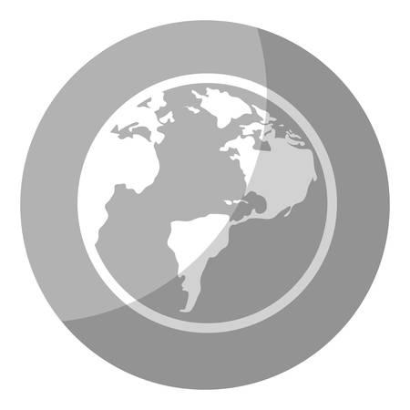 灰色の丸と白い背景地球惑星アイコン。ベクトル図