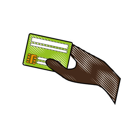 hand holding a credit card icon over white background. colorful design. vector illustration Illustration
