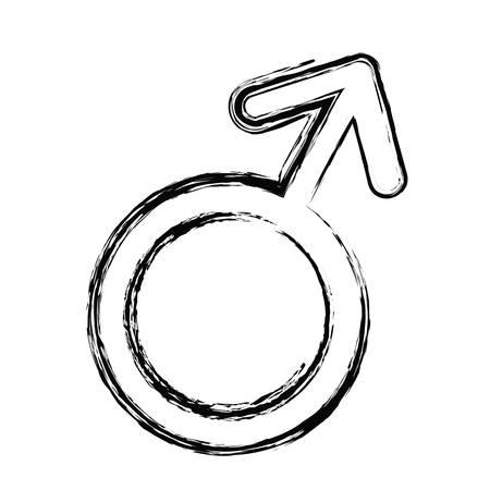 白い背景の上の男性の性別アイコン。ベクトル図