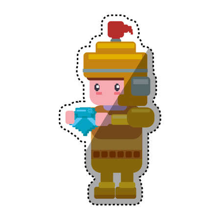 Warrior Pixelated videogame icon vector illustration graphic design