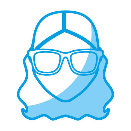 hipster woman with glasses icon over white background. vector illustration