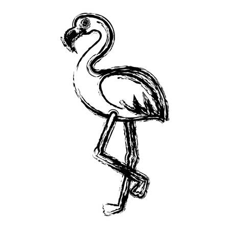 flamingo bird icon over white background. vector illustration