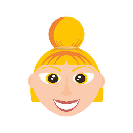 blondie: Happy woman face cartoon icon vector illustration graphic design Illustration