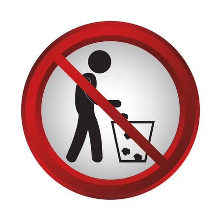 trash danger: no trash sign icon over white background. colorful design. vector illustration Illustration