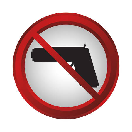 no weapons sign icon over white background. colorful design. vector illustration