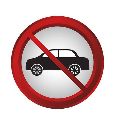 forbidden cars sign icon over white background. colorful design. vector illustration Illustration
