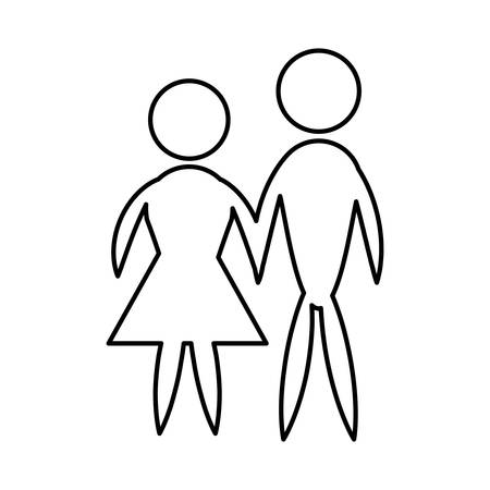 man and woman pictogram icon couple design