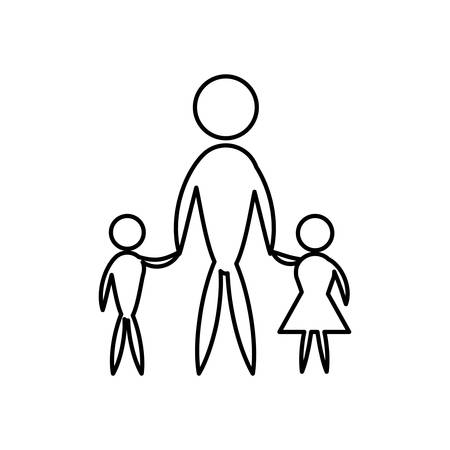 Family, pictogram father, mother and son vector illustration design Illustration