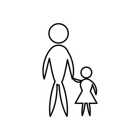 Father and son pictogram flat icon family concept