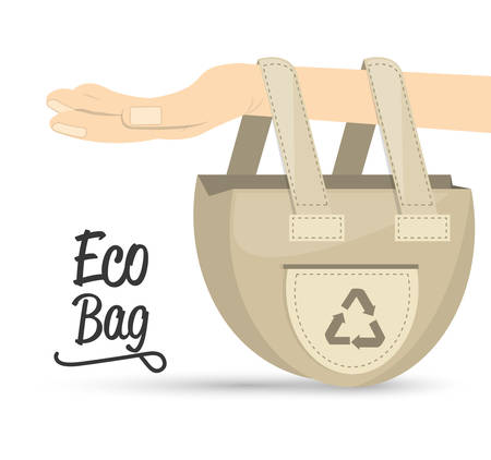 land development: eco bag products for planet conservation, vector illustration