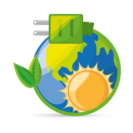 save energy for the planet conservation, vector illustration Illustration