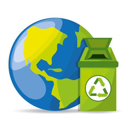 trash can with recycling symbol for the planet conservation, vector illustration Illustration