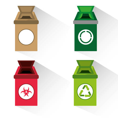 land development: set icon trash can for waste separation , vector illustration