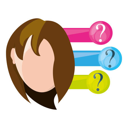 woman thinking in differents questions, vector illustration
