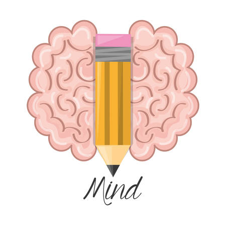 brain and pencil symbolizing the creativity, vector illustration