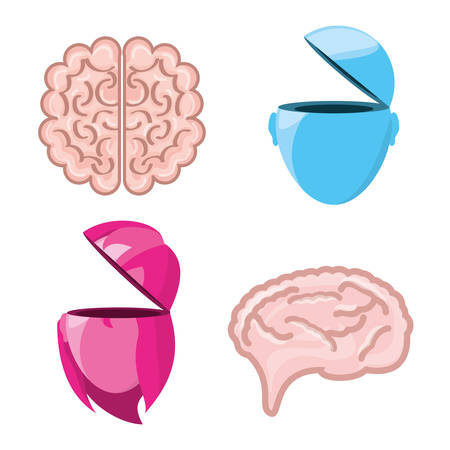 set icon knowledge and creativity, vector illustration
