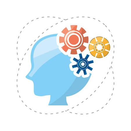 tête de silhouette inspirée par différentes idées et connaissances, illustration vectorielle