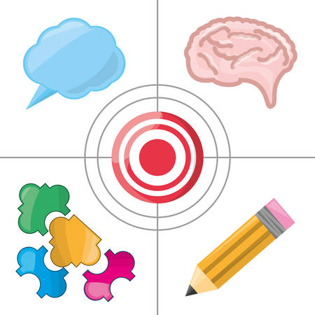 set icon knowledge and creativity, vector illustration