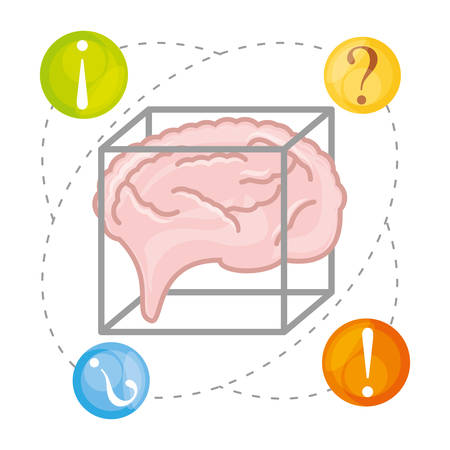 Brain thinking in different questions, vector illustration