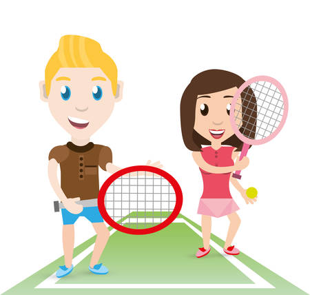 deportes caricatura: Atleta feliz pareja jugando al tenis, ilustración vectorial