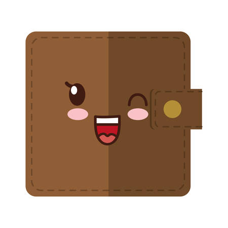 attache: kawaii wallet icon over white background. vector illustration Illustration