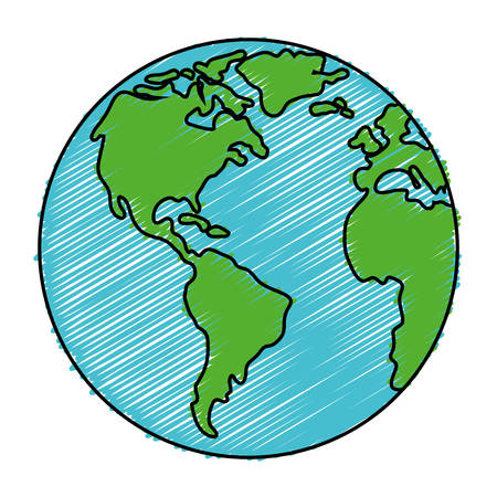 earth planet icon over white background. vector illustration