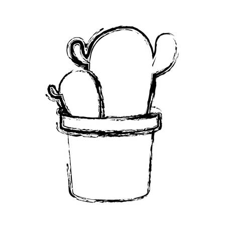 cactus in a pot icon over white background. vector illustration Illustration