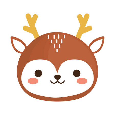 kawaii deer animal icon over white background. vector illustration