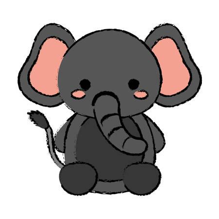 elephant animal icon over white background. vector illustration
