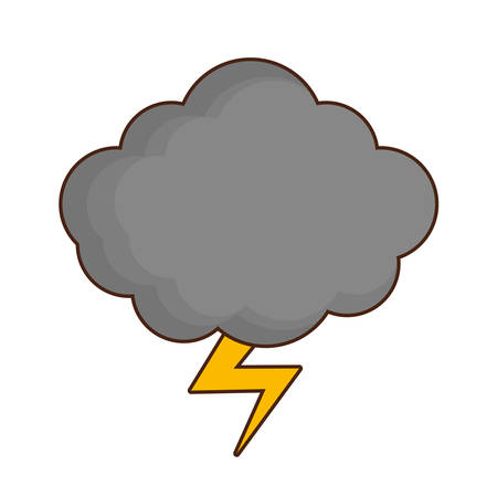 voltage sign: Cloud and thunder icon over white background. vector illustration