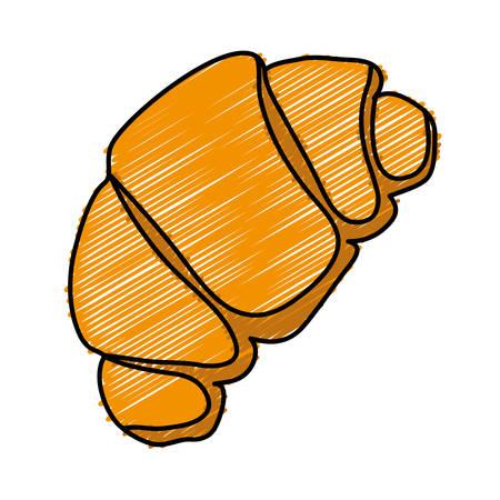 Croissant icon over white background. Illustration