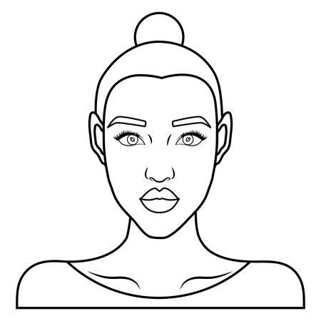retro woman icon over white background. vector illustration