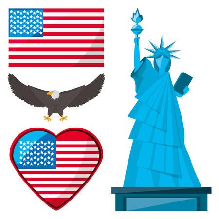 Freiheitsstatue, Adler und amerikanische Flagge, Vektor-Illustration Standard-Bild - 77267662