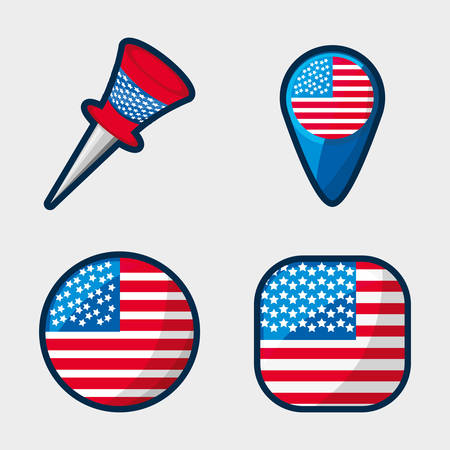 american buttons to encourage the spirit of patriotism, vector illustration