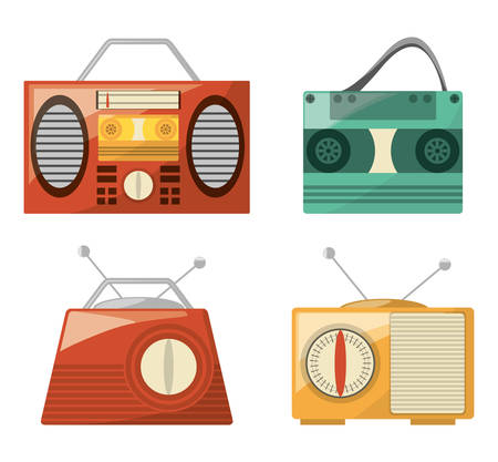 retro radio to listent station music, vector illustration Illustration