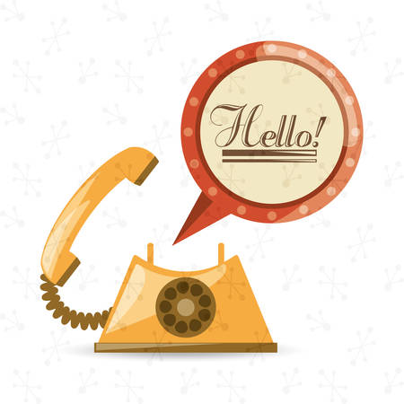 vintage telephone: retro telephone to call and talk, vector illustration design