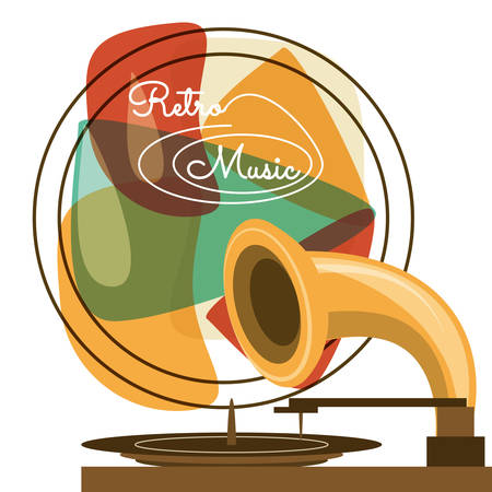fm: retro radio to listent cds music, vector illustration