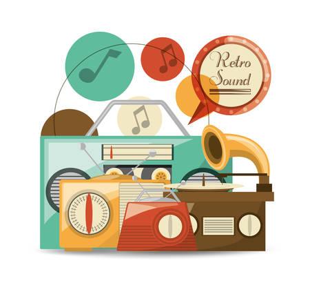 retro radio to listent cds music, vector illustration
